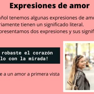Expresiones de amor y emoción en español.